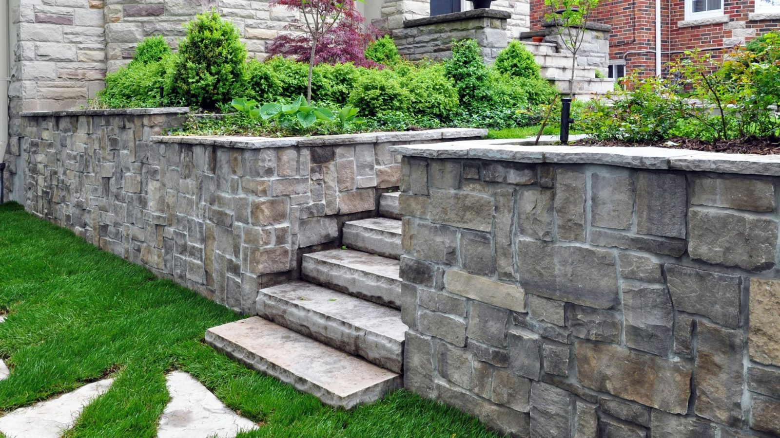 stone steps with a retaining wall