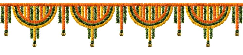 a hanging floral toran decoration of marigolds