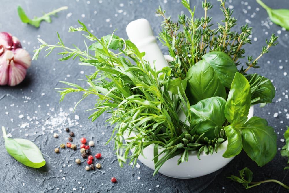 various herbs sat in a white mortar bowl