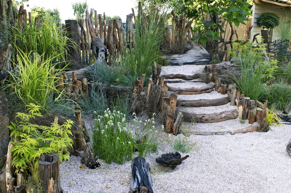 driftwood used for garden steps and a small fence