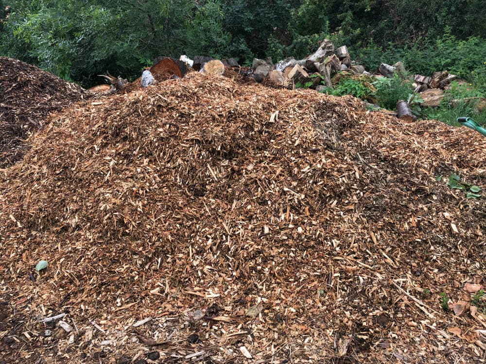 a heap of wood chips being used for composting