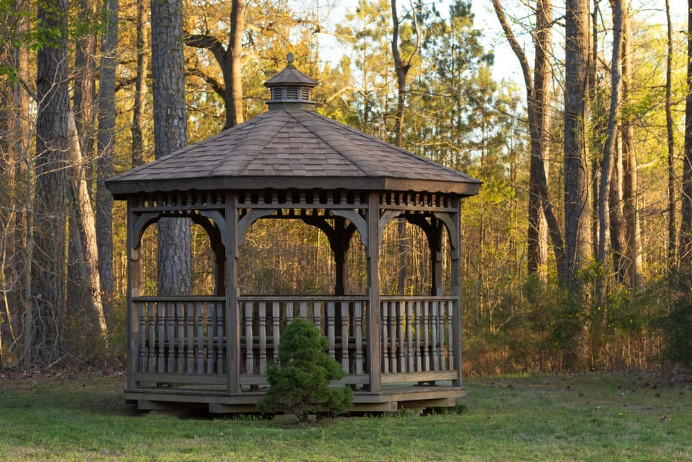 a large wooden gazebo at the end of a garden with woodlands in the background