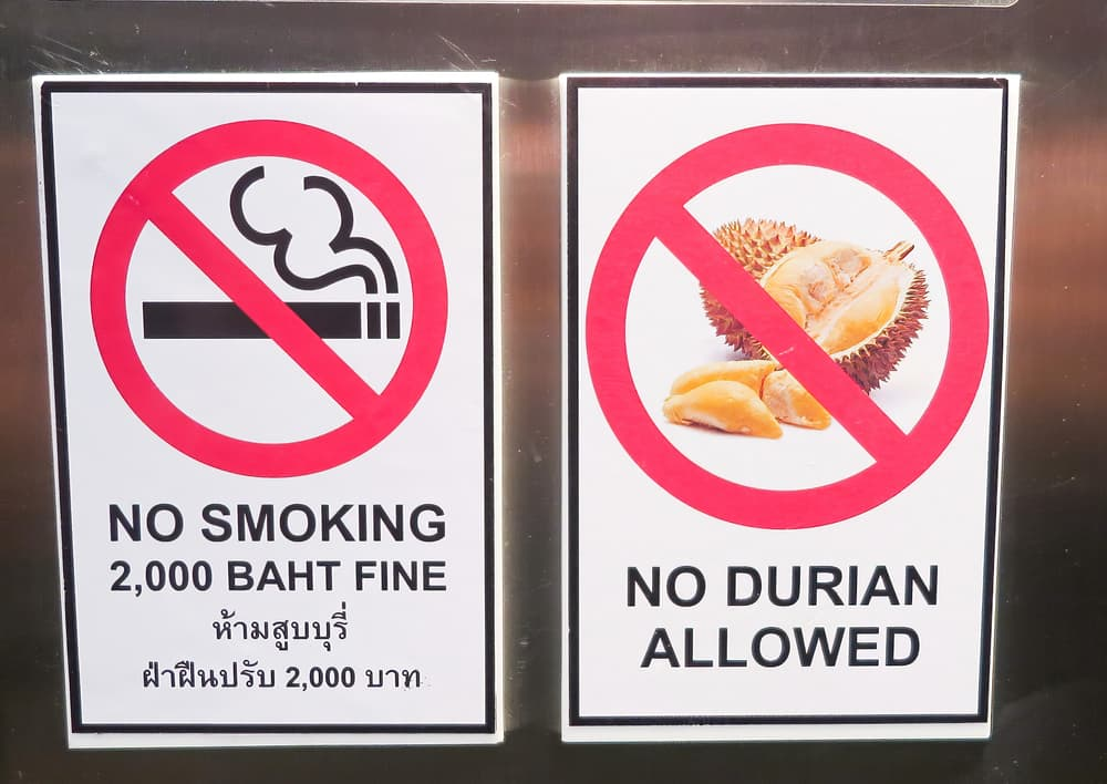 a sign in Thailand prohibiting durian fruit