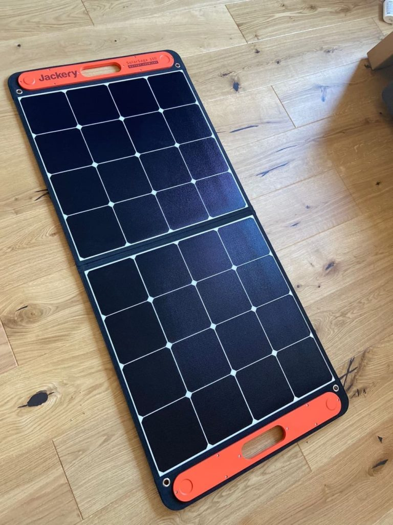 jackery solar panels opened out on the floor